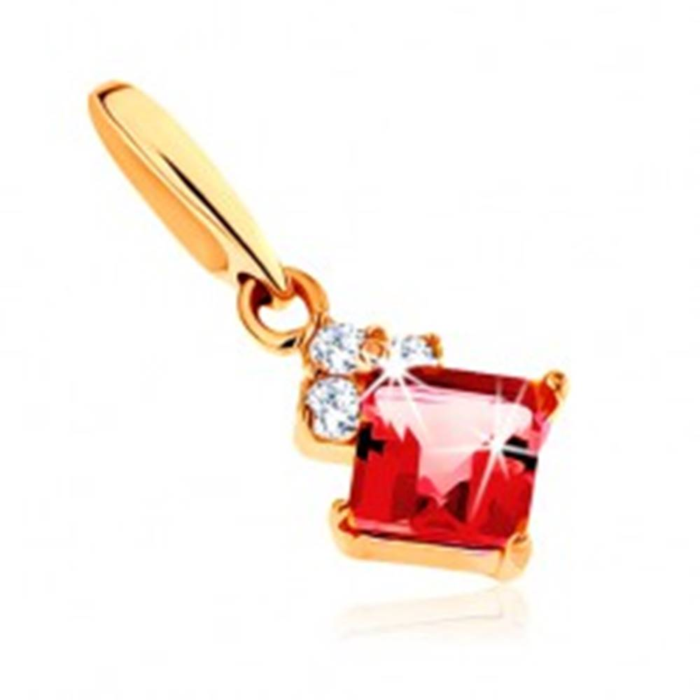 Šperky eshop Prívesok v žltom 14K zlate, štvorcový červený granát, číre zirkóniky