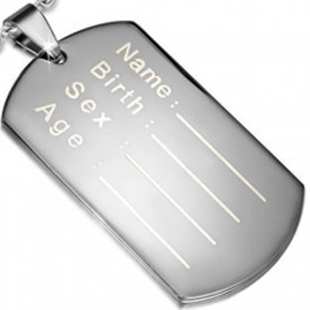 Šperky eshop Prívesok z ocele 316L- plochá obdĺžniková známka na osobné údaje