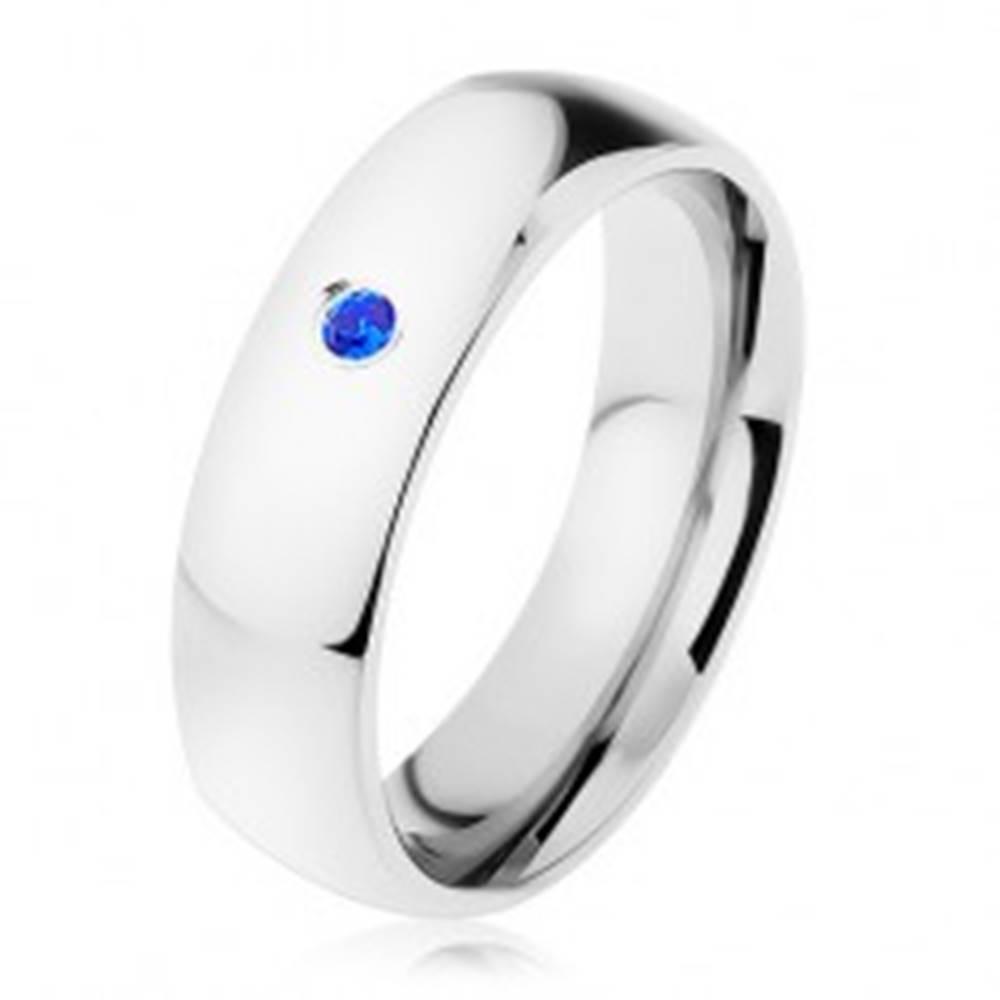 Šperky eshop Prsteň, oceľ 316L, strieborný odtieň, zrkadlový lesk, modrý zirkónik - Veľkosť: 49 mm