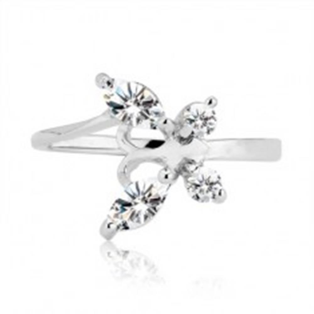 Šperky eshop Prsteň zo striebra 925 - zirkónový motýľ s tykadlami - Veľkosť: 53 mm