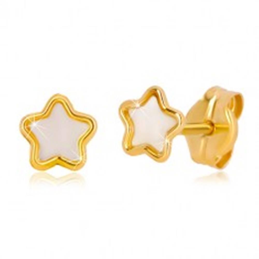 Šperky eshop Puzetové 14K zlaté náušnice s motívom hviezdy s prírodnou perleťou