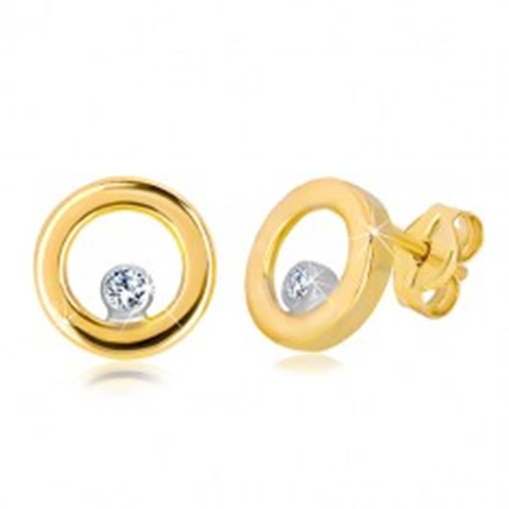 Šperky eshop Puzetové náušnice v bielom a žltom zlate 585 - lesklý kruh so zirkónom