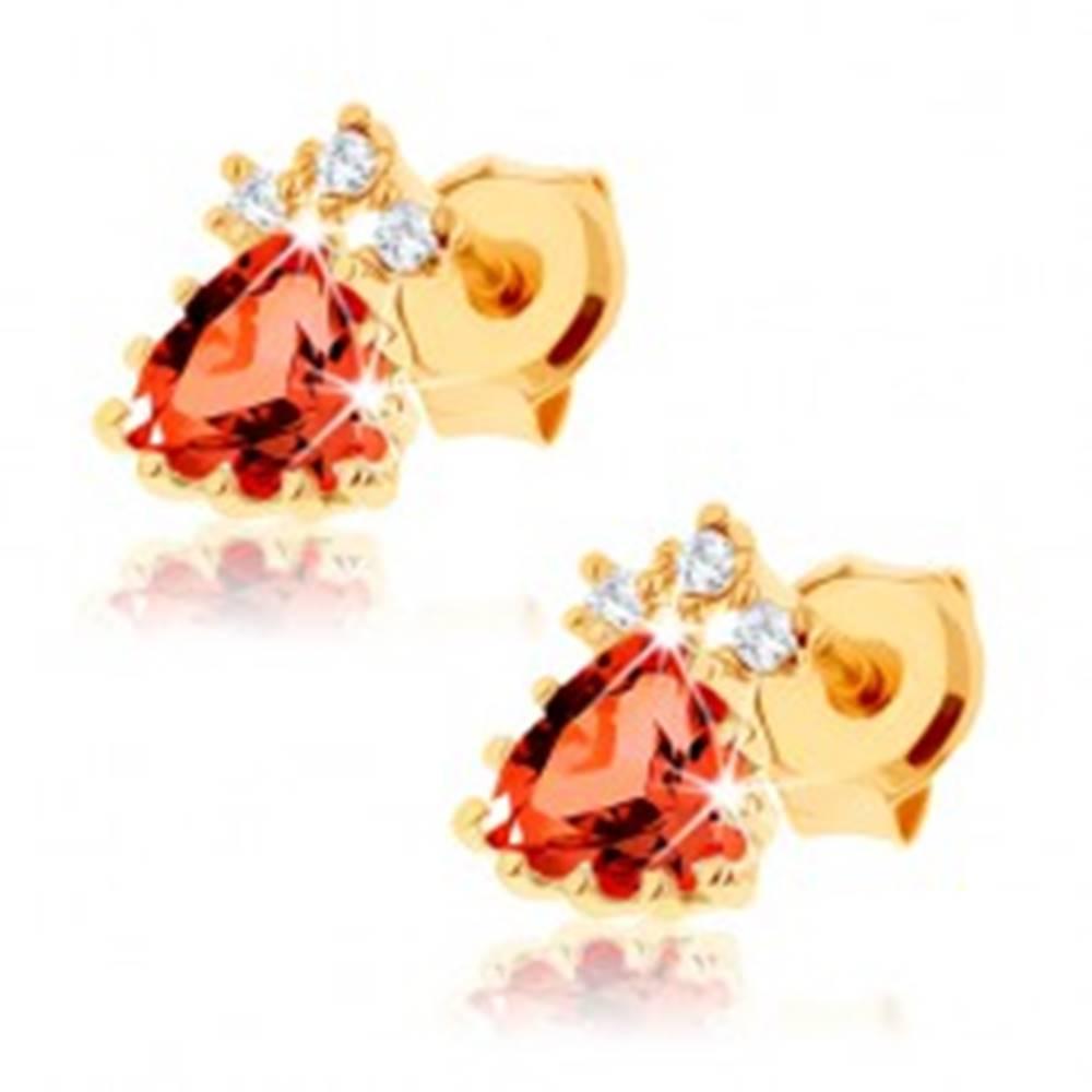 Šperky eshop Puzetové náušnice v žltom 14K zlate - trojuholníkový červený granát, zirkóniky