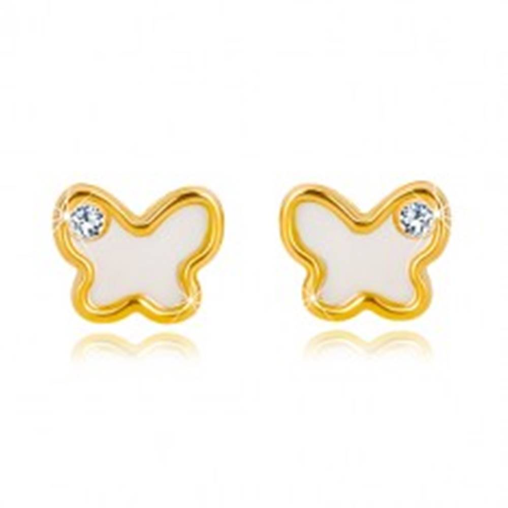 Šperky eshop Puzetové náušnice zo 14K žltého zlata - motýlik s prírodnou perleťou a zirkónom
