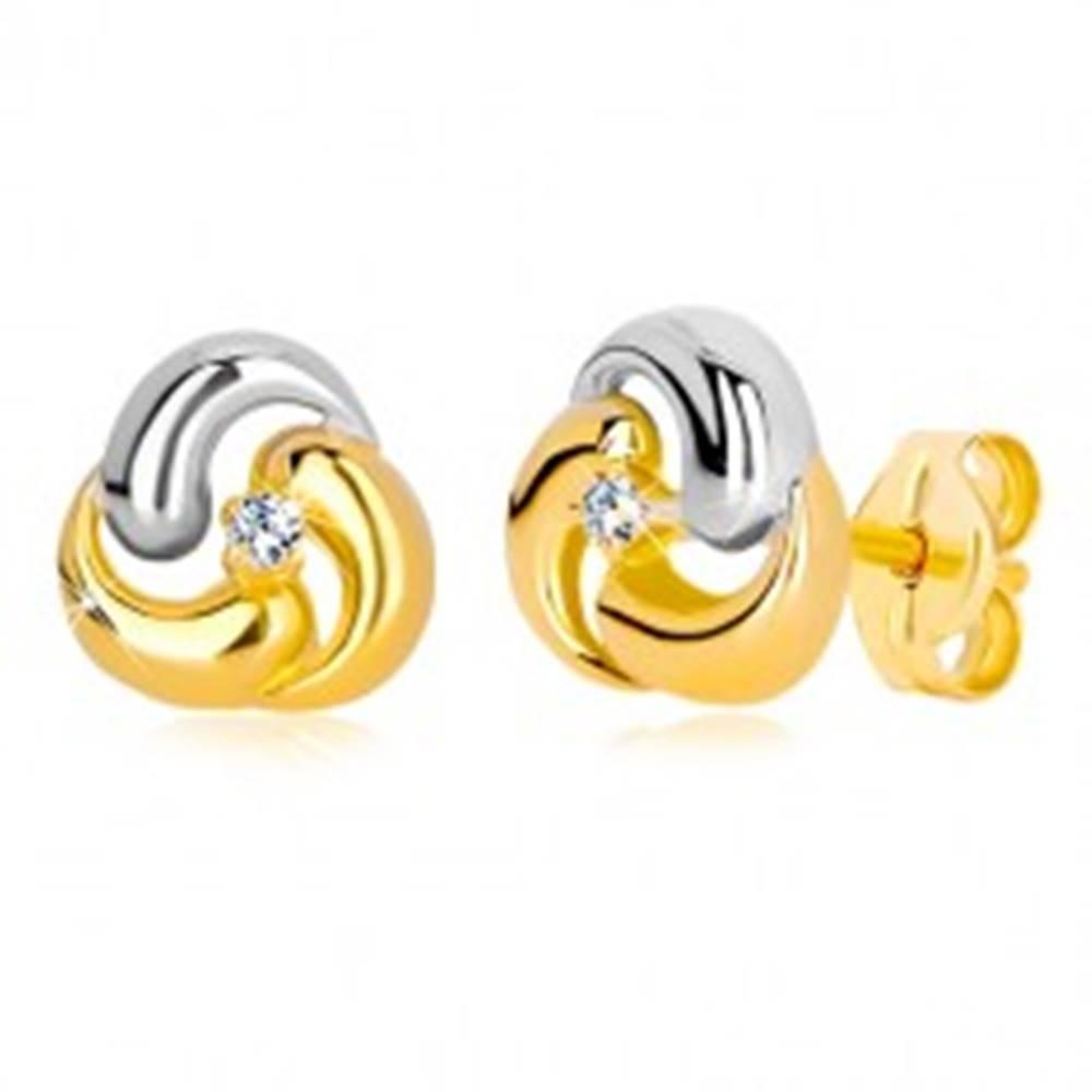 Šperky eshop Puzetové náušnice zo zlata 585 - dvojfarebný kvet, tri zaoblené kvapky