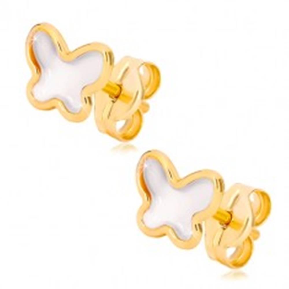 Šperky eshop Puzetové náušnice zo žltého zlata 585 - motýlik s prírodnou perleťou