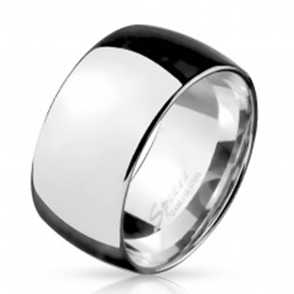 Šperky eshop Širšia obrúčka z chirurgickej ocele, lesklá so zaobleným povrchom, 11 mm - Veľkosť: 59 mm