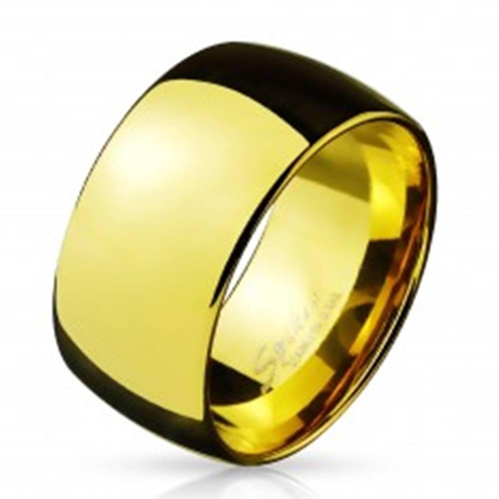 Šperky eshop Širšia oceľová obrúčka v zlatom farebnom prevedení, 11 mm - Veľkosť: 59 mm