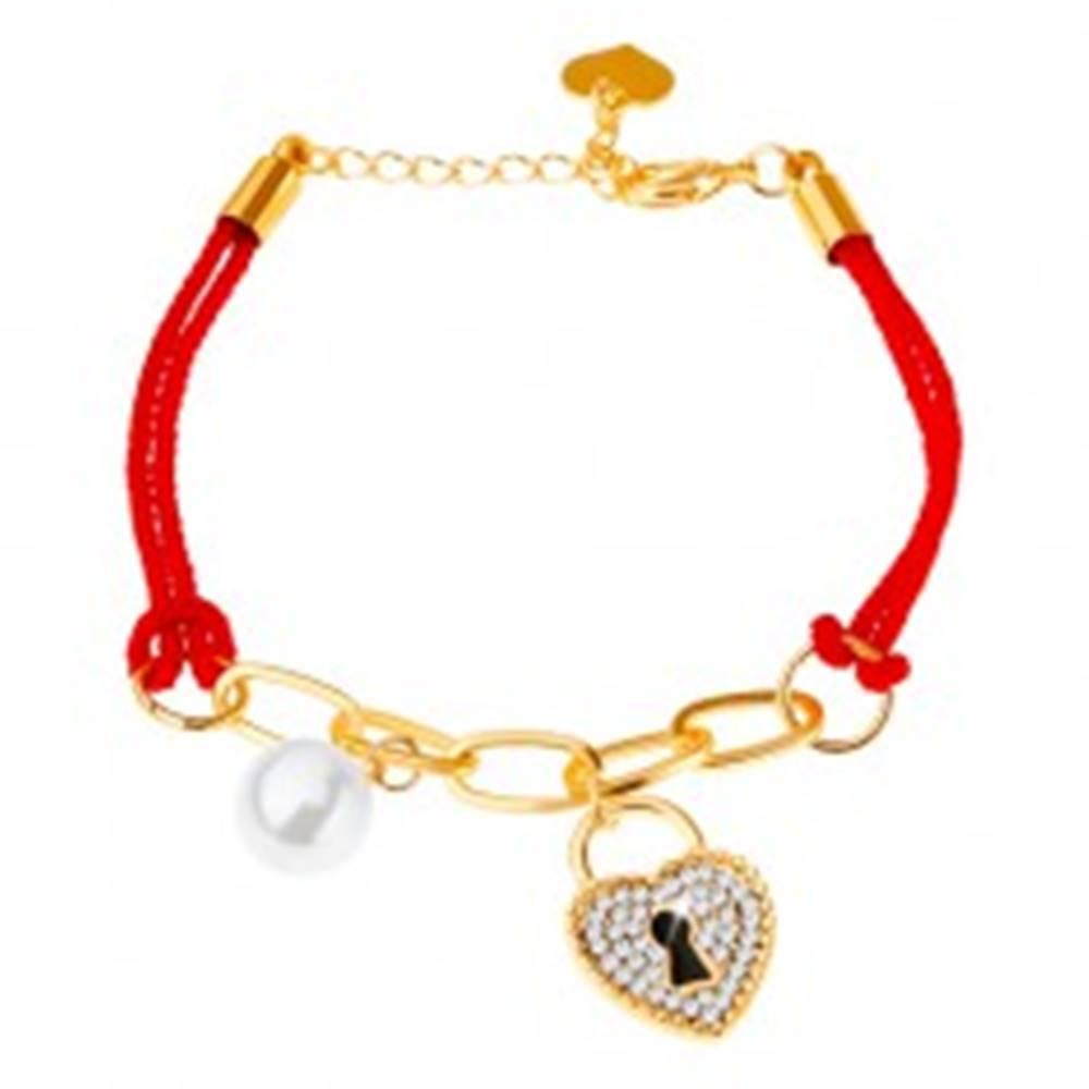 Šperky eshop Šnúrkový náramok, retiazka, dva prívesky - gulička, zámka - srdce, zirkóny