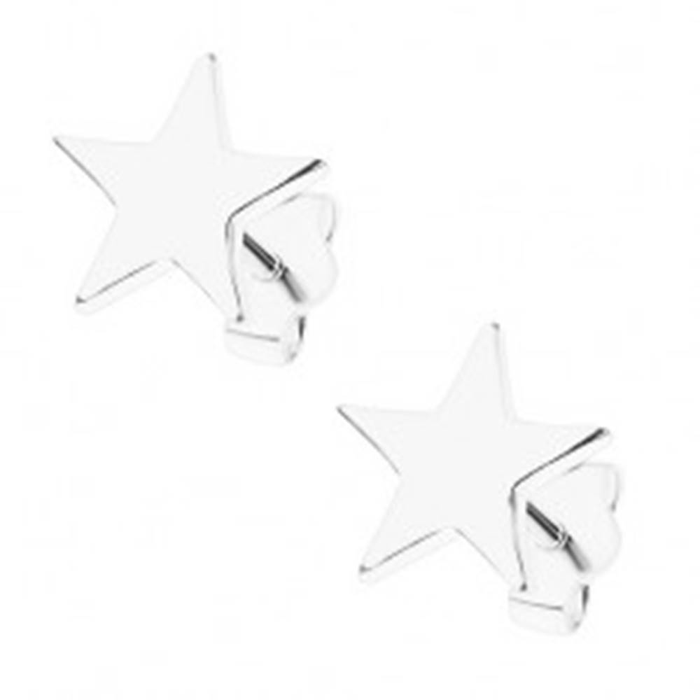 Šperky eshop Strieborné 925 náušnice, súmerná hviezda, lesklý povrch, puzetky