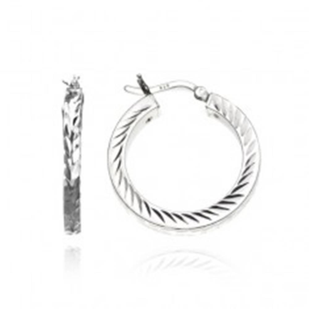 Šperky eshop Strieborné kruhové náušnice 925 - hranatá línia s lístkami, 18 mm