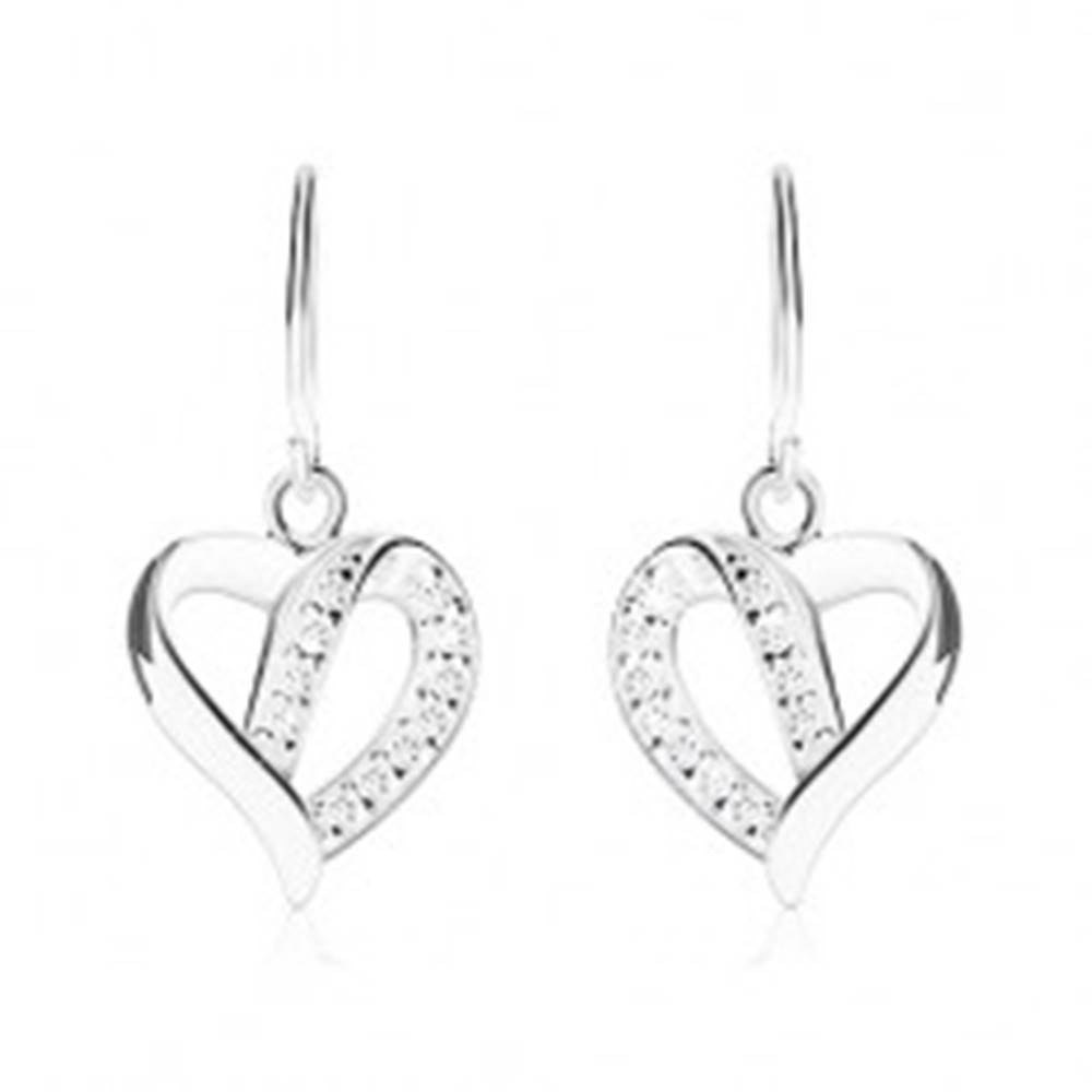 Šperky eshop Strieborné náušnice 925, kontúra asymetrického srdca zdobená zirkónmi