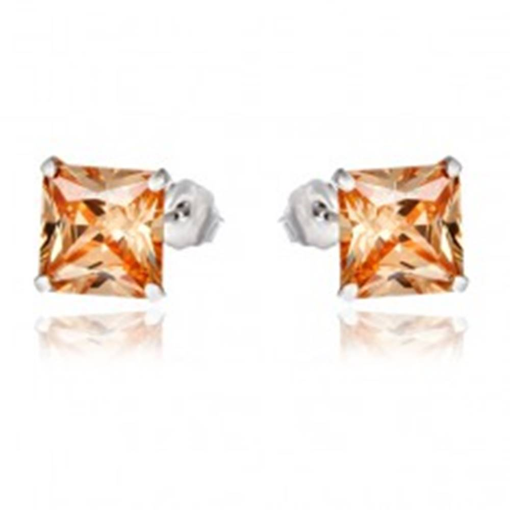 Šperky eshop Strieborné náušnice 925 - zirkónový štvorec jantárovej farby, 7 mm