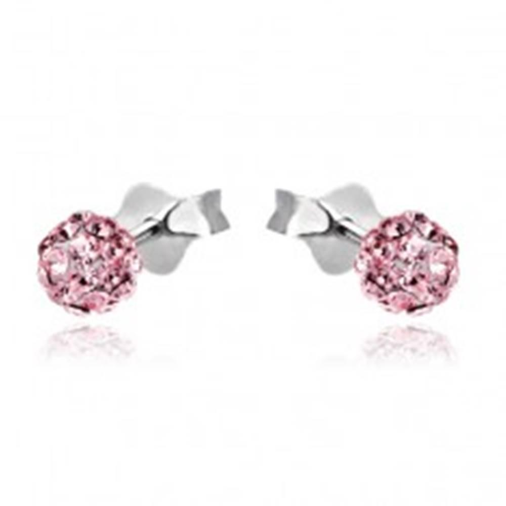 Šperky eshop Strieborné puzetové náušnice 925 - ružová gulička so zirkónmi, 4 mm