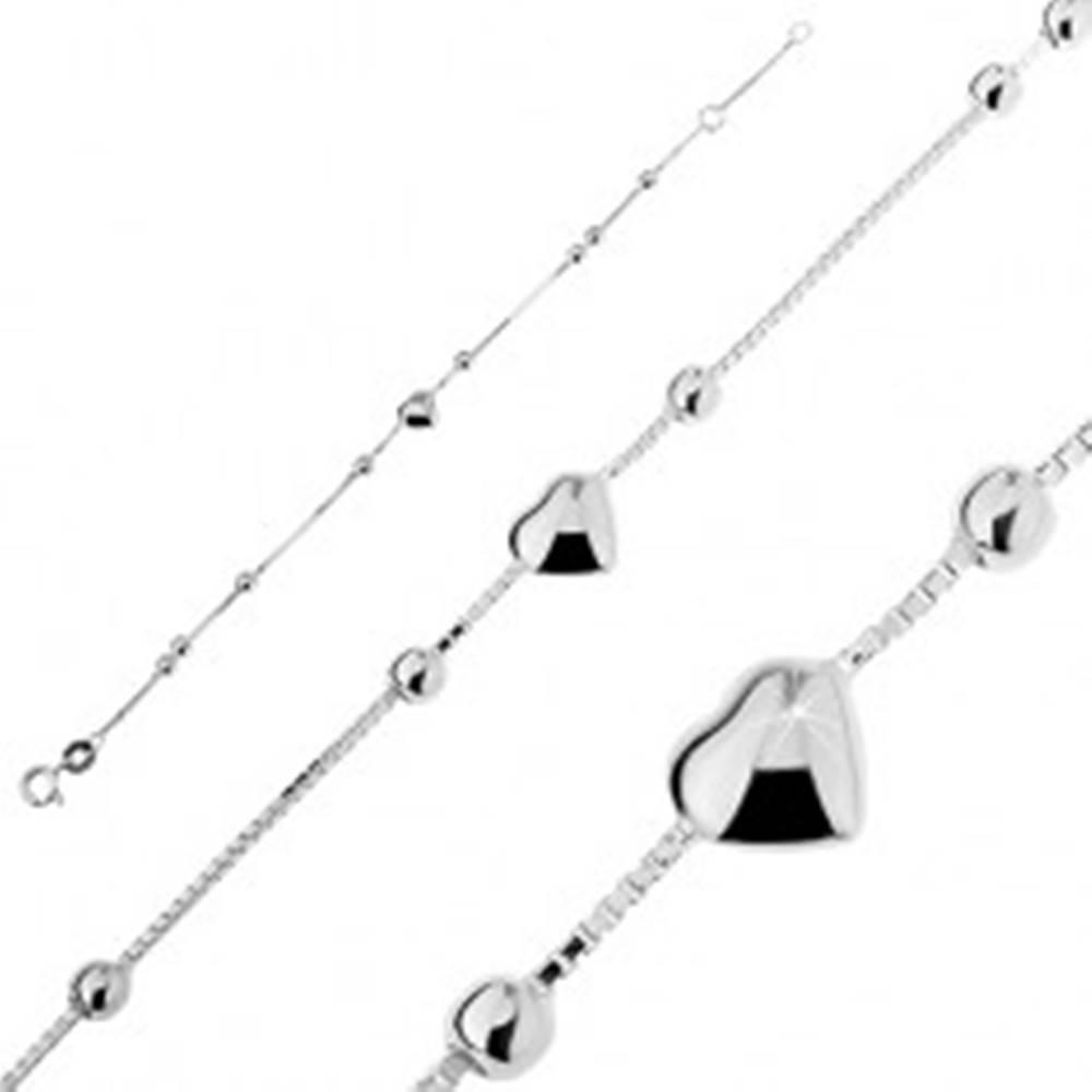 Šperky eshop Strieborný náramok 925 - vypuklé srdiečko s guľôčkami