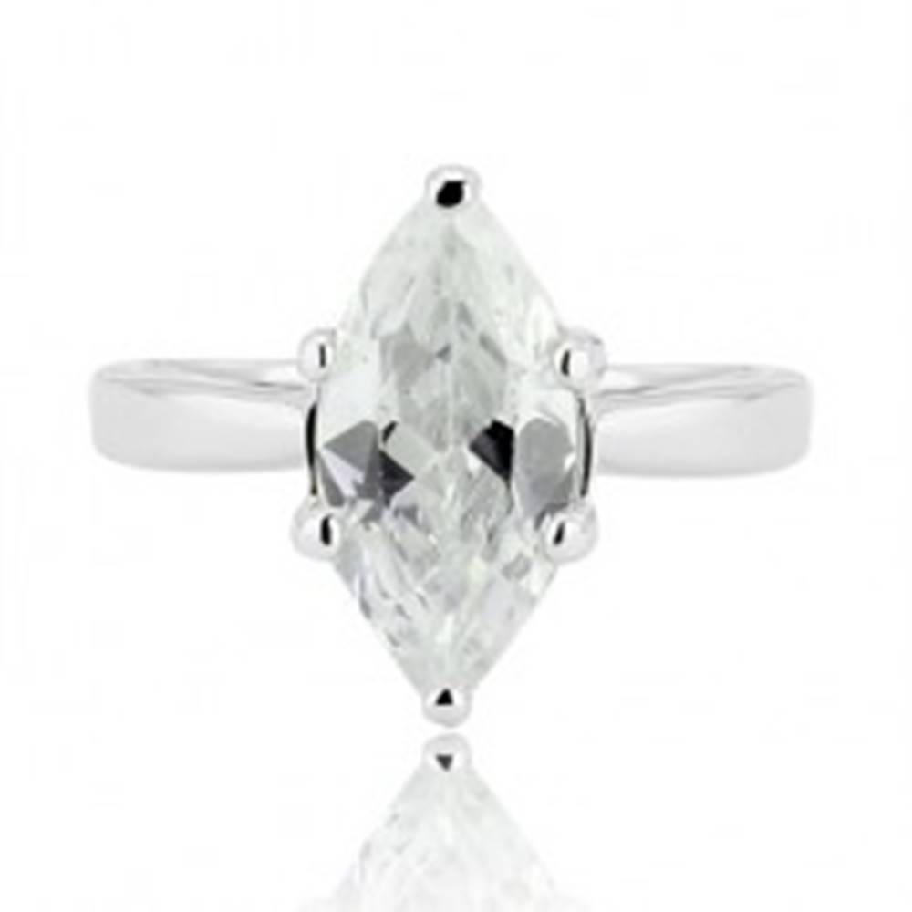 Šperky eshop Strieborný prsteň 925 - veľký brúsený zirkón v tvare zrnka - Veľkosť: 52 mm