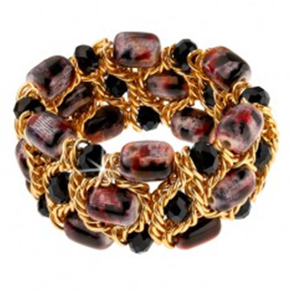 Šperky eshop Trblietavý náramok, čierne brúsené guličky, fialovo-čierne korálky, retiazka