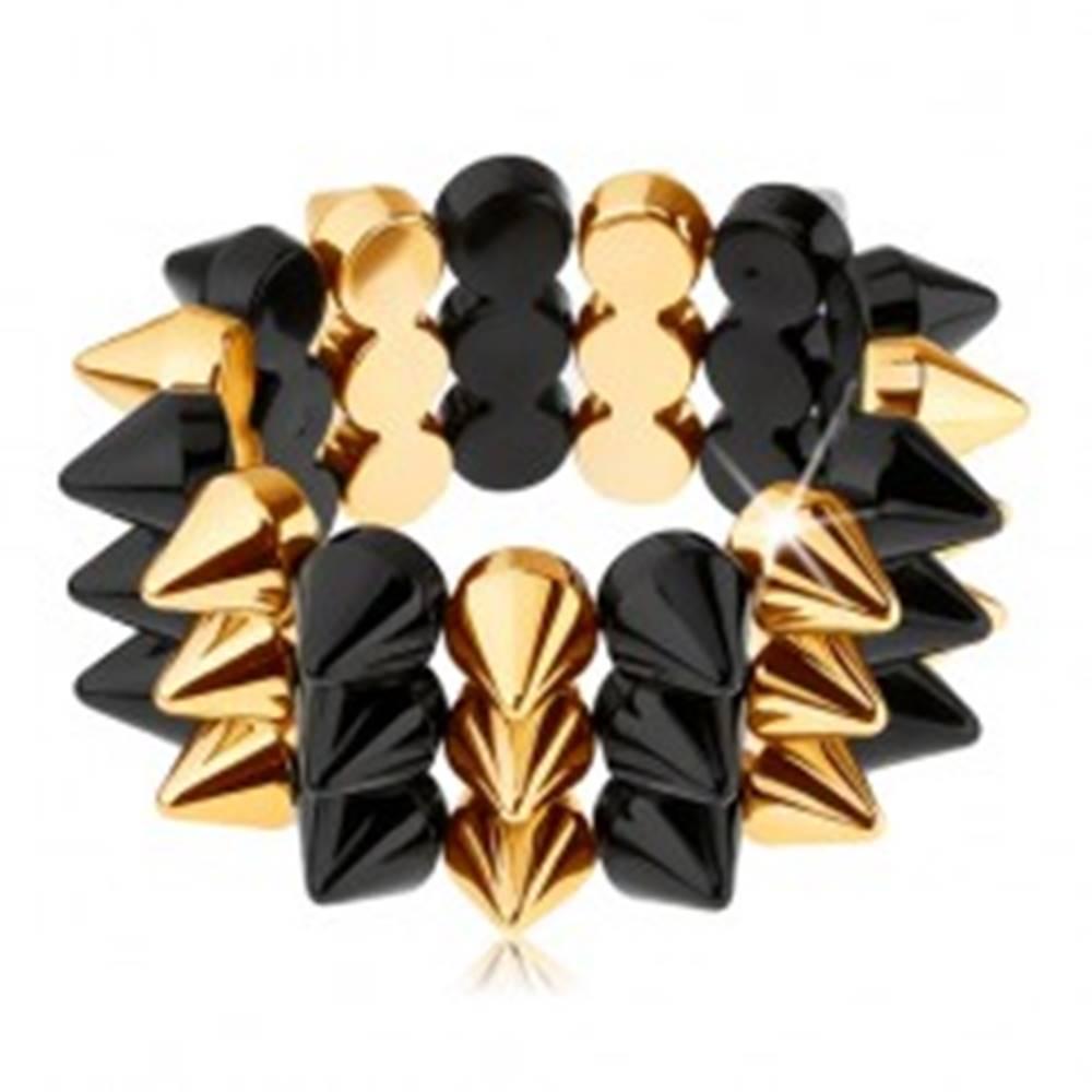 Šperky eshop Trojradový ostnatý náramok, elastický, čierny a zlatý odtieň