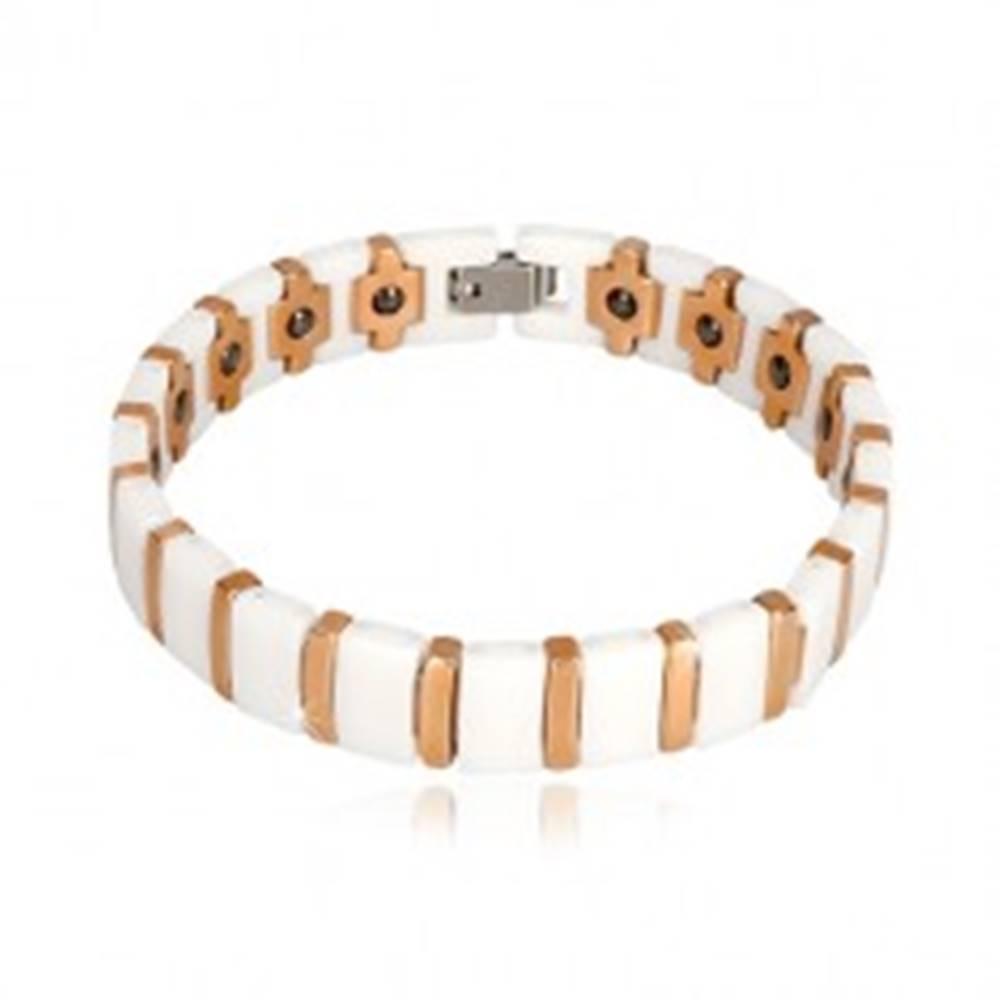 Šperky eshop Volfrámovo-keramický magnetický náramok bielej a medenej farby