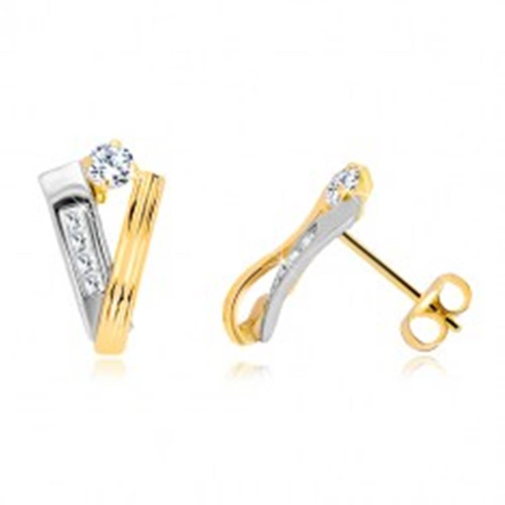 Šperky eshop Zlaté 14K náušnice - stuha zo žltého a pás z bieleho zlata, číre zirkóny
