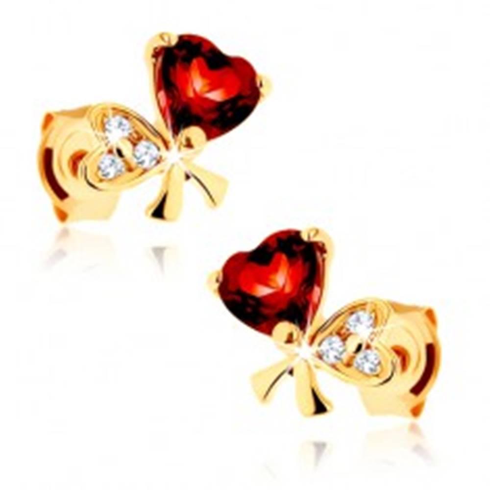 Šperky eshop Zlaté náušnice 585 - mašľa z dvoch sŕdc, červený granát, číre zirkóniky