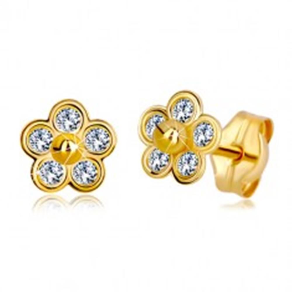 Šperky eshop Zlaté náušnice 585 - päťlupeňový kvet so zirkónmi a zlatou guličkou v strede