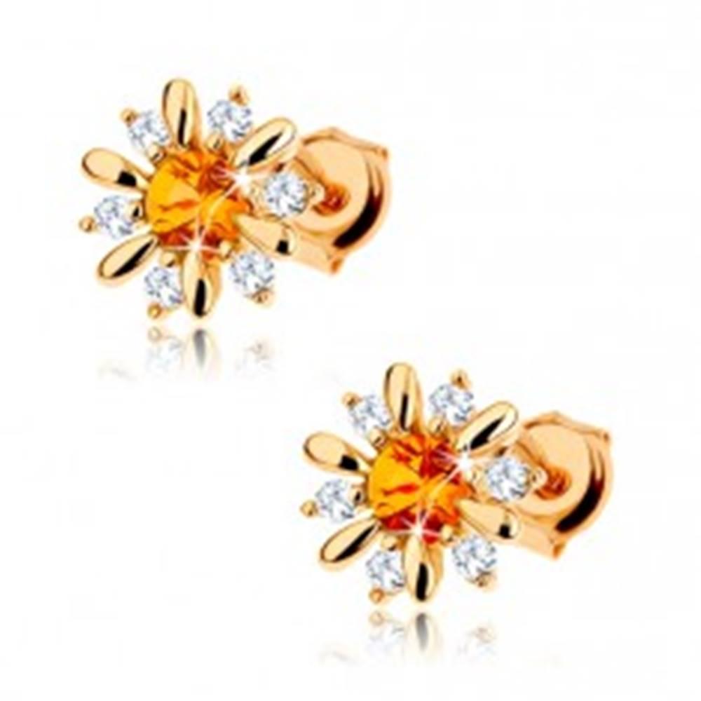 Šperky eshop Zlaté náušnice 585 - rozkvitnutý kvet so žltým citrínom v strede, číre zirkóniky