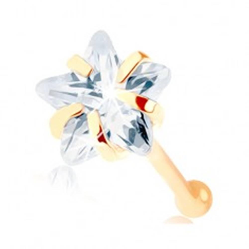 Šperky eshop Zlatý piercing do nosa 585 - rovný, číra zirkónová hviezdička