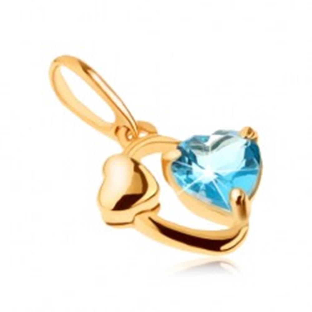 Šperky eshop Zlatý prívesok 585 - kontúra oválu, lesklé srdiečko, srdce z modrého topásu