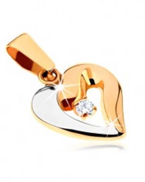Šperky eshop Zlatý dvojfarebný prívesok 375 - tučný obrys asymetrického srdca, zirkón