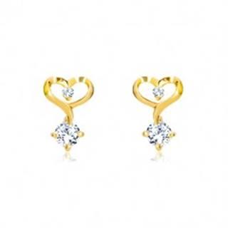 Briliantové náušnice v 14K žltom zlate - kontúra srdca s diamantmi