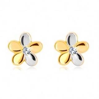 Briliantové náušnice zo zlata 585 - kvet s piatimi lupeňmi a diamantom
