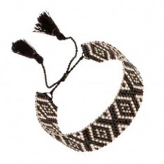 Nastaviteľný náramok z korálok, kosoštvorcový vzor, čierna a strieborná farba