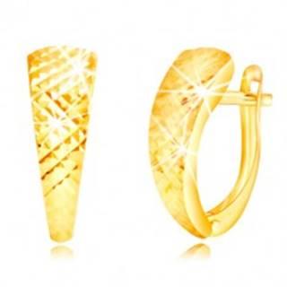 Náušnice v žltom zlate 585 - lesklý nesúmerný oblúk, drobné ihlany