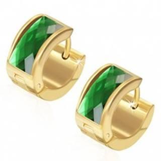 Náušnice z ocele 316L, povrch zlatej farby, obdĺžnikový zelený zirkón