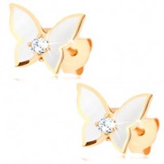 Náušnice zo zlata 585 - malý motýlik, krídla pokryté bielou glazúrou, číry zirkón