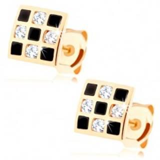 Náušnice zo zlata 585 - štvorček so šachovnicovým vzorom, zirkóny, glazúra