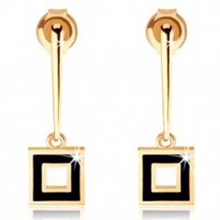 Náušnice zo žltého 14K zlata - úzka palička s obrysom štvorca, čierna glazúra