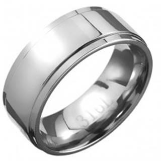 Oceľový prsteň - obrúčka striebornej farby so stredovým pásom - Veľkosť: 57 mm