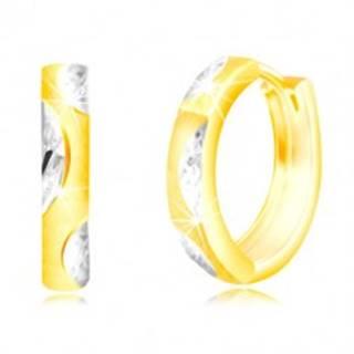 Okrúhle náušnice v zlate 585 - úzky matný kruh, lístočky z bieleho zlata