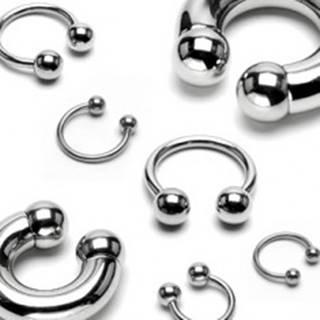 Piercing z chirurgickej ocele - jednoduchá podkova s lesklými guličkami, hrúbka 4 mm - Hrúbka x priemer x veľkosť guličky: 4 mm x 12 mm x 8 mm