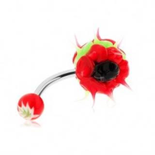 Piercing z chirurgickej ocele, silikónový ježko, zelená, červená a čierna farba
