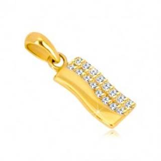 Prívesok zo žltého 14K zlata - zvlnený pás, polovica vykladaná zirkónmi
