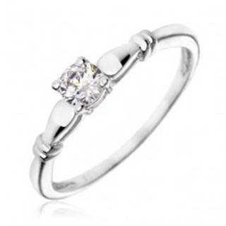 Strieborný zásnubný prsteň 925 - číry zirkón, dvojité prstence - Veľkosť: 49 mm