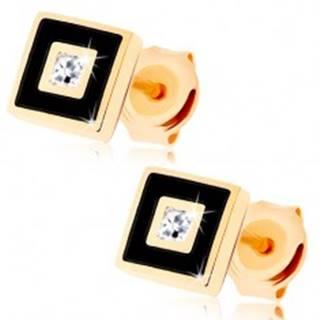 Zlaté náušnice 585 - štvorček zdobený čiernou glazúrou, číry zirkónik