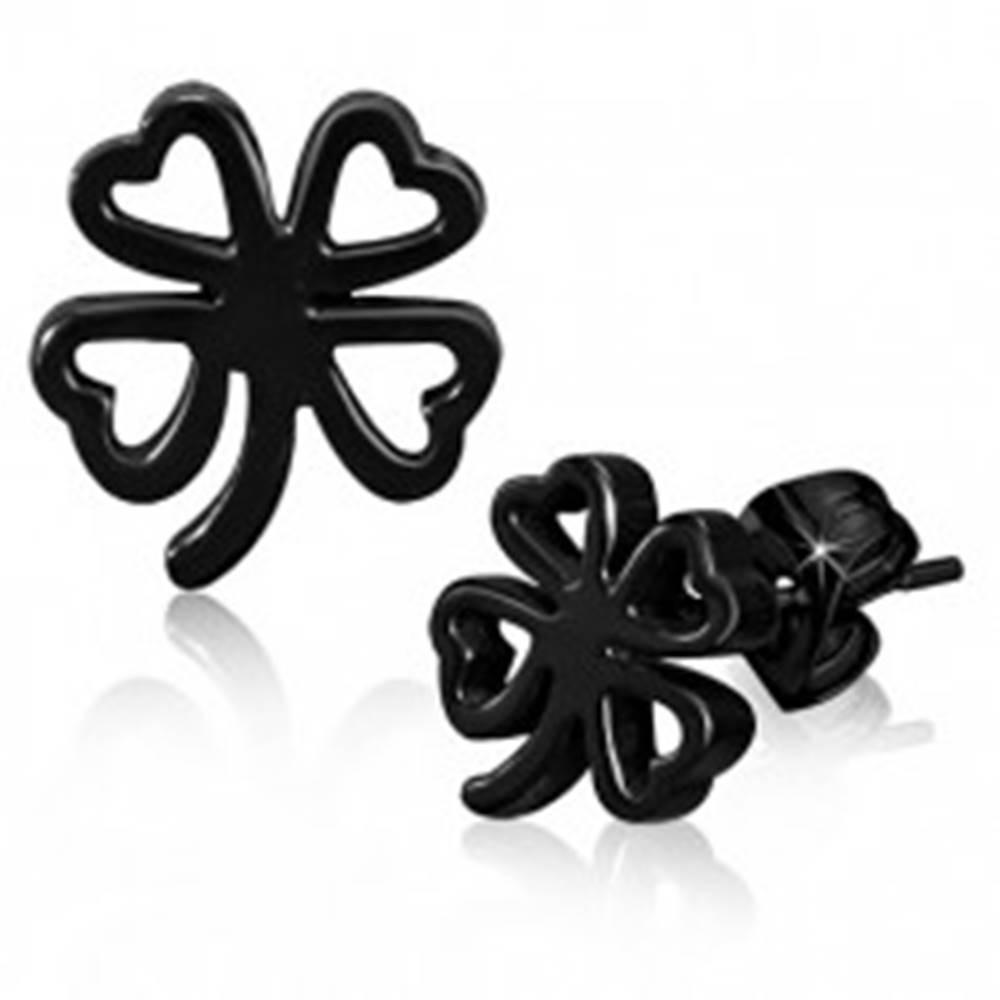 Šperky eshop Čierne náušnice z chirurgickej ocele, kontúra štvorlístka pre šťastie