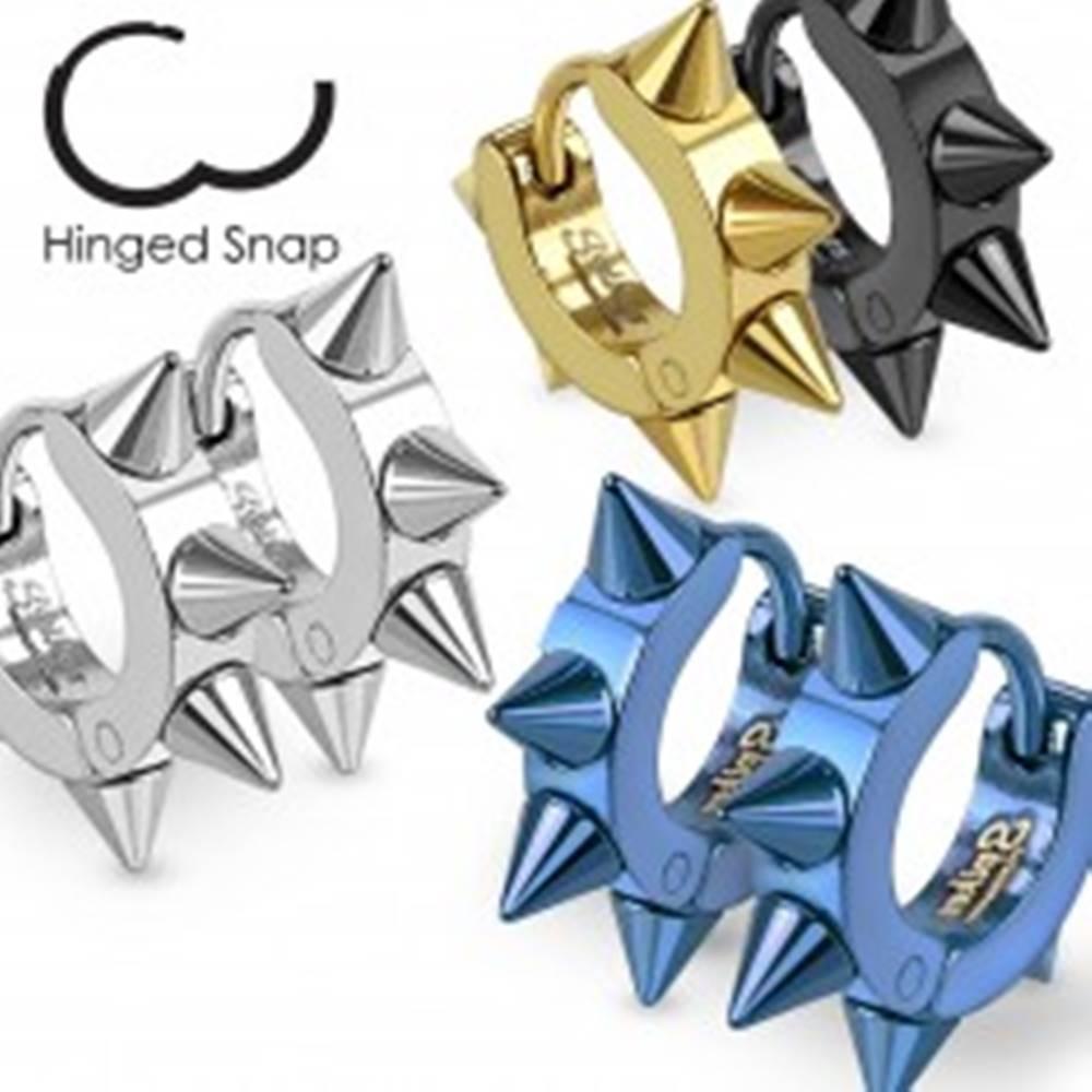 Šperky eshop Farebné náušnice z ocele 316L, lesklé kruhy s ostrými hrotmi - Farba: Čierna