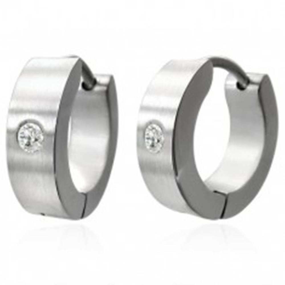 Šperky eshop Kĺbové náušnice z ocele 316L, zrkadlový lesk, číry zirkónik