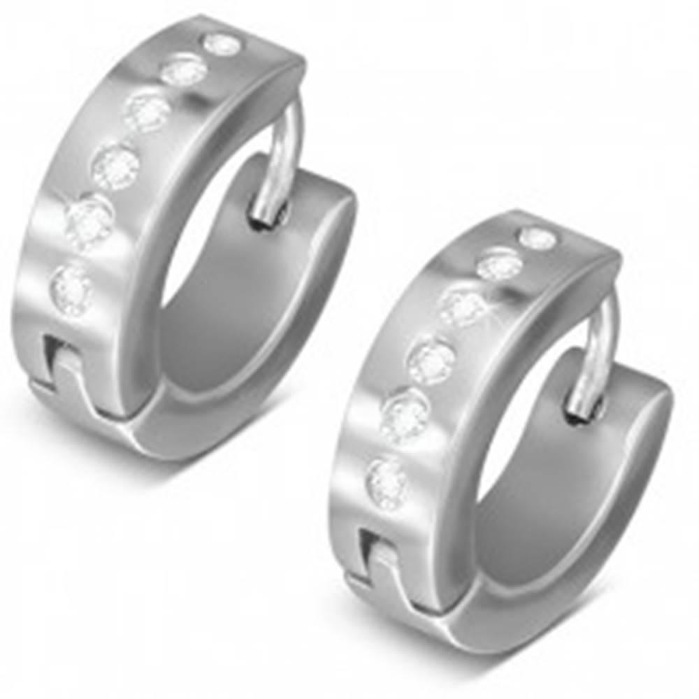 Šperky eshop Kĺbové oceľové náušnice striebornej farby, línia okrúhlych čírych zirkónov