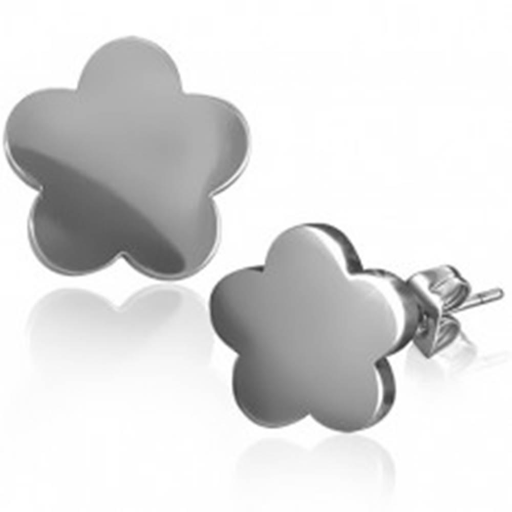 Šperky eshop Lesklé náušnice, oceľ 316L, kvet, puzetové zapínanie, strieborný odtieň